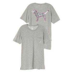 Victoria's Secret Pink Sequins Pocket Campus Tee